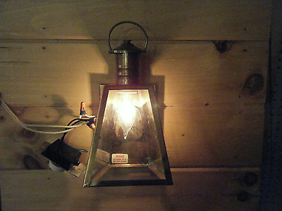 Vintage Solid Brass Light Fixture Sconce Wall Porch 70s Antique Patina bent