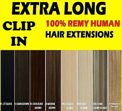 """26"""" 24"""" CLIP IN REMY HUMAN HAIR EXTENSIONS Brown Blonde Black"""