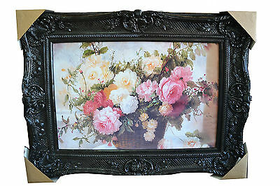 New Large Ornat Gilt Antique French Mirror Style Canvas Painting Black Frame
