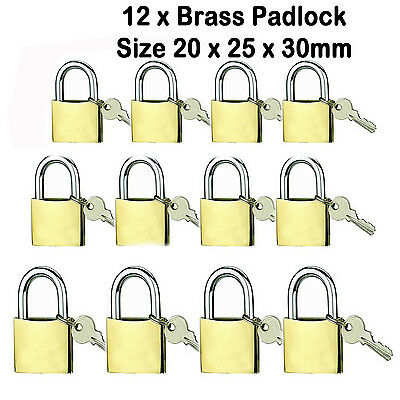 3pcs Assorted Brass luggage suitcase travel bike bag locks padlock 20, 25, 30mm