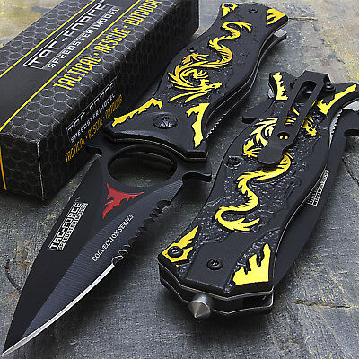 "8"" GOLD TAC FORCE DRAGON SPRING ASSISTED TACTICAL FOLDING KNIFE Pocket Blade"