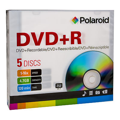 Blank DVD+R4.7gb (16X) Polaroid DVD+R Disc in Slim Cases in a 500 Lot (C7-3141P)