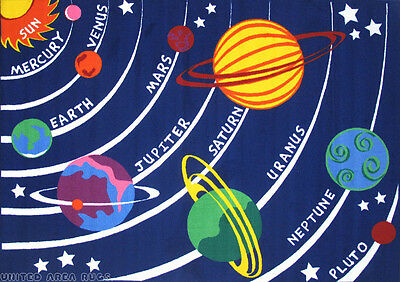 5x8 Universal Area Rug  Solar System Kids Educational Planet Universe New Navy
