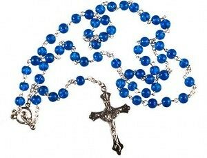 BLUE ROSARY BEADS / Rosaries METAL CHAIN & CRUCIFIX