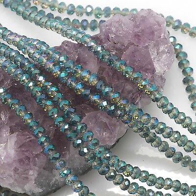 Wholesale 3*4mm green AB Crystal Loose Beads 146pcs DIY jewelry