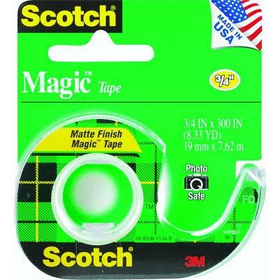 "144 Pk 3M Scotch Magic Transparent Tape 3/4"" X 300""  W/Dispenser 105"