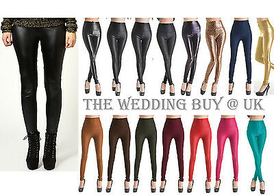 19 Colour Ladies High Waist Wet Faux Leather Leggings Pants  6/8/10/12/14 PP002