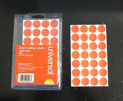 """1008 Red Universal 3/4"""" Round Color Coding Labels Sticker Dots Inventory Code"""