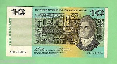 1968   R303 TYPE PHILLIPS/ RANDALL PAPER $10 BANKNOTE, SERIAL No. SSH 735834