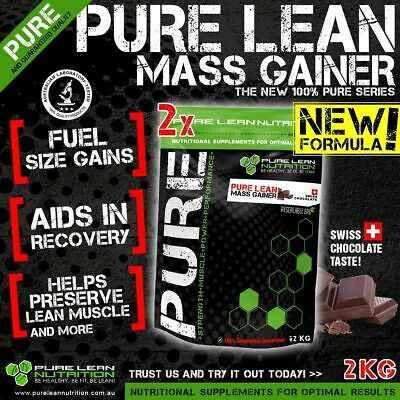 2Kg Pure Lean Mass Weight Gainer Swiss Chocolate Flavour Whey Protein Wpc Oats