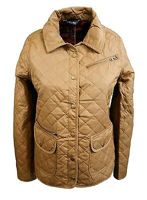 Womens Quilted Jacket Riding Jacket Coat Ladies Brown Tan Size 8 - 12