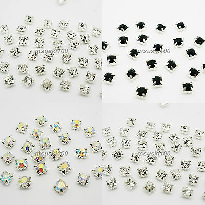 Sew On Crystal Glass Diamante Rhinestones Silver Setting 4, 5, 6, 8, 10mm NEW