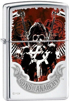 Zippo Sons of Anarchy SAMCRO with Reaper High Polish Chrome Lighter RARE