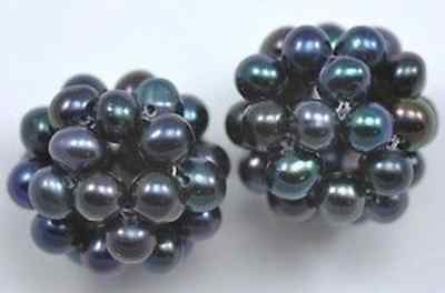Peacock Black Freshwater Pearl Cluster Balls A 12mm 15mm