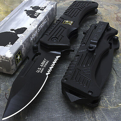 """9"""" US ARMY LICENSED HALF SERRATED SPRING ASSISTED TACTICAL FOLDING KNIFE Blade"""