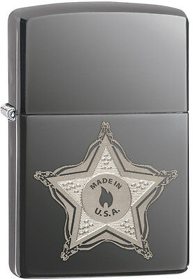 Zippo Made In The USA Badge Black Ice Lighter Model 28360 New