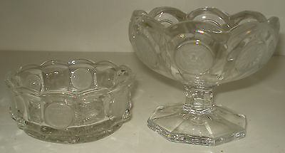 Fostoria COIN GLASS CLEAR Nappy and Open Jam/Jelly Compote Set