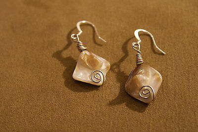 Handmade earrings from mother-of-pearl