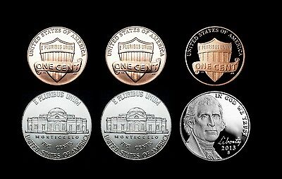 2013 P+D+S Lincoln Shield & Jefferson Nickel Mint Proof Set ~ PD from Bank Roll