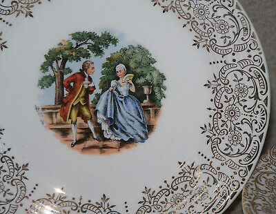 Sebring Pottery Chantilly IT-S284 - 22K Gold 7 Bread Plates Colonial Couple