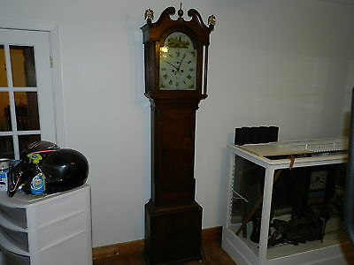 Rare Beautiful English painted dial grandfather clock 8 day weight, made 1700,s