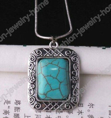 Antique Silver Stone Turquoise  Pendant Chain Necklace