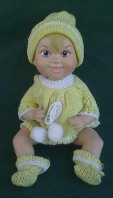 """Vintage 1966 Maggie Head Bisque Porcelain 10.5"""" Jointed Baby Doll + Clothes"""