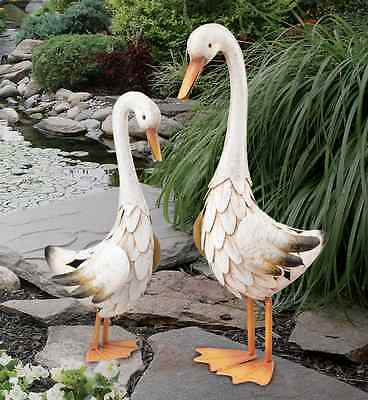 Duck Statue Pair Handcrafted Metal Garden Yard Art Sculptures Birds Pond Pool