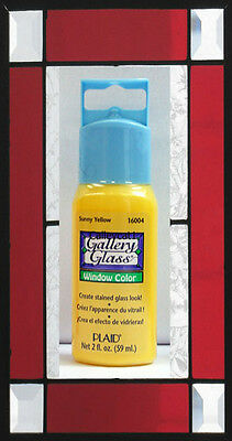 Plaid Gallery Glass Paint 16004 - 2 oz. Sunny Yellow ~ Create Stained Glass Look