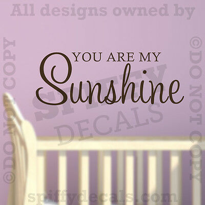 You Are My Sunshine Nursery Quote Vinyl Wall Words Decal Decor Letters Sticker