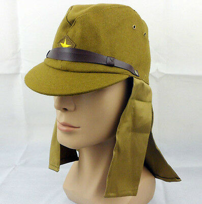 WWII Japanese army soldier cap hat with neck flaps size L-A20220