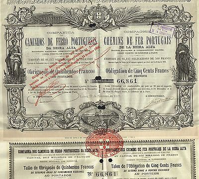 PORTUGAL ROYAL RAILWAY OF PORTUGAL BOND stock certificate 1879 VERY RARE