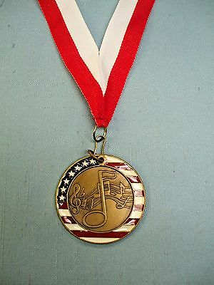 MUSIC notes enameled medal award red and white  neck drape
