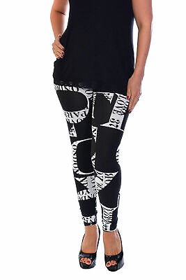 New Womens Plus Size Leggings Ladies Love New York Paris Print Trousers Nouvelle
