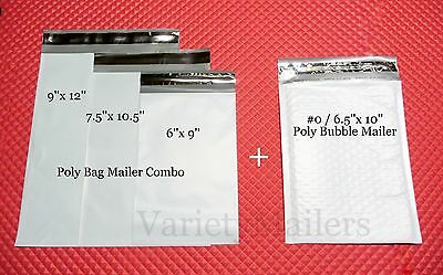 15 Poly Bag + 10 Poly Bubble 4 Size Mixed Lot ~ Self-Sealing Envelope Mailers