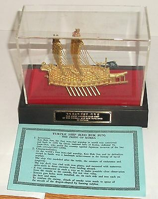 Korean 24Kt Gold Plated Turtle Ship Keo Buk Sun Boxed Displayed