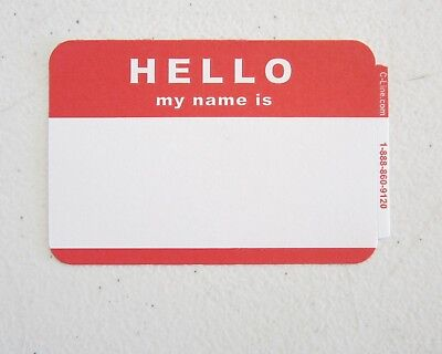 """50 Red """"hello My Name Is""""  Name Tags Labels Badges Stickers Peel Stick Adhesive"""