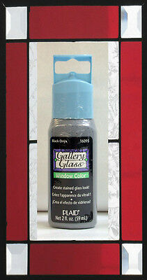 Plaid Gallery Glass Paint 16095 - 2 oz. Black Onyx ~ Create Stained Glass Look