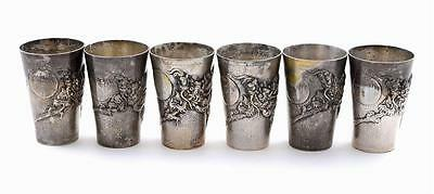 6 Chinese Silver Sterling Dragon Whiskey Shot Cup Marked