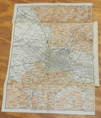 1909 Antique COLOR Map of FLORENCE, ITALY, Area