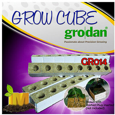 GRODAN ROCKWOOL GROW CUBES WITH HOLES for Hydroponics Clone Seedling Grow Media