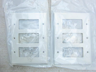 leviton pj263w 3gang white decora midway wall plate lot of 2