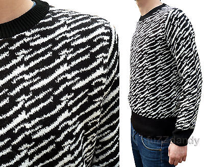 Mens Zebra print 80s jumper vtg indie retro animal leopard Safari blondie punk