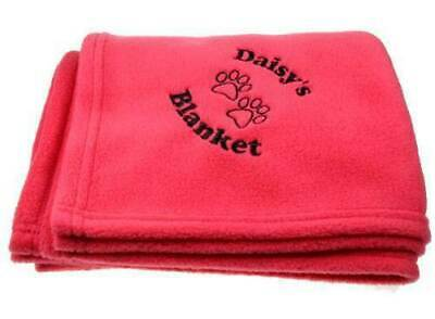 Personalised Luxury Pet Blanket Blue Pink Black Dog Cat Paw Prints Gift Idea