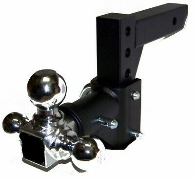 """H D Tri-ball Swivel Adjustable Trailer Tow Hitch Mount Safety Pin  2"""" Receiver"""