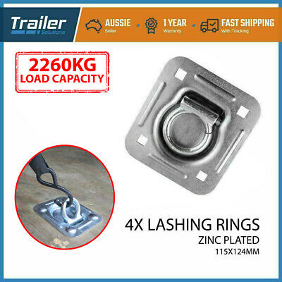 4 X Lashing Ring Zinc Plated Tie Down Points Anchor Ute Trailer 115 X 124Mm