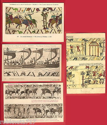 LOT 4 CPA Guillaume Anglais Reine Mathilde Tapisserie BAYEUX tapestry Calvados A