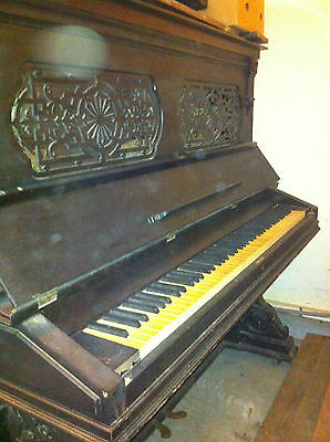 Piano Gorgeous Antique Hallet & Davis Piano Upright Piano Needs Restoration