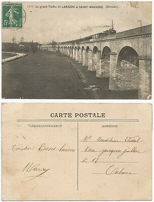 CPA postcard steam train à vapeur Grand Viaduc LANGON SAINT MACAIRE Gironde 912A