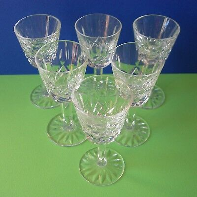 Quality Set Of 6 Waterford Lismore Cut Crystal Cordial / Liqueur Glasses 3-1/2""